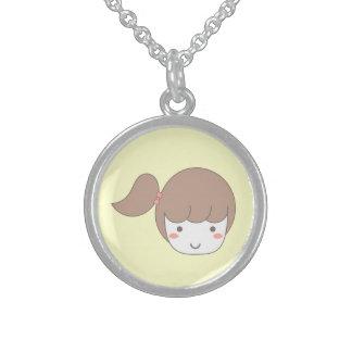 Kleines Mädchen mit Seitenpferdeschwanz Sterling Silberkette