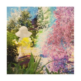 Kleines Mädchen-Natur-Collagen-Rosa-Blumen-blaues Holzdruck