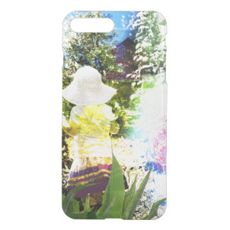 Kleines Mädchen-Natur-Collagen-Rosa-Blumen-blaues iPhone 8 Plus/7 Plus Hülle