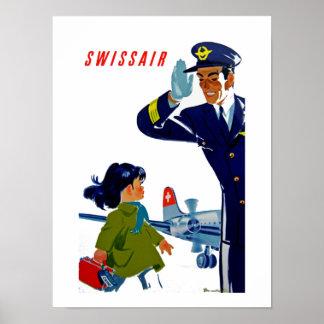 Kleines Mädchen Swissairs Posterdrucke