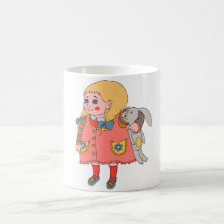 Kleines Mädchen und Häschen Kaffeetasse