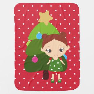 Kleines Mädchen-Weihnachtsbaum wählen Haar-Farbe Baby-Decke