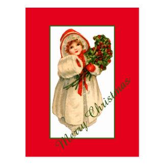 Kleines Mädchen-weißer Pelz-Mantel und Bündel Postkarte