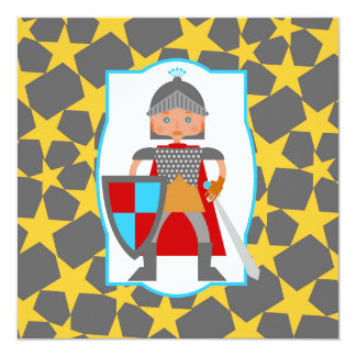 Kleines mittelalterliches Rittergeburtstags-Party Quadratische 13,3 Cm Einladungskarte