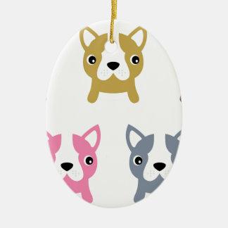 Kleines niedliches Hundewunderbares gefärbt Ovales Keramik Ornament