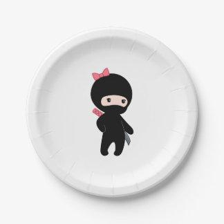 Kleines Ninja Mädchen Pappteller