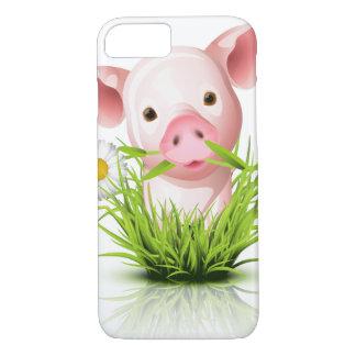 Kleines rosa Schwein im Gras iPhone 8/7 Hülle