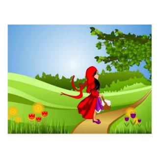 Kleines Rotkäppchen, das einen Spaziergang macht Postkarte