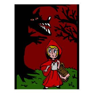 Kleines Rotkäppchen im Wald Postkarte