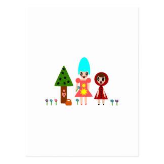 Kleines Rotkäppchen und Großmutter unter dem Flowe Postkarte