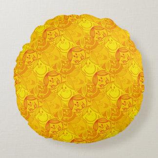 Kleines sonniges gelbes Muster Fräulein-Sunshine | Rundes Kissen