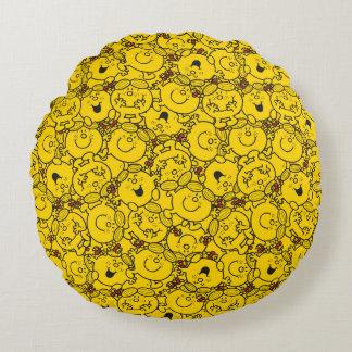 Kleines Spaß-Gelb-Lächeln-Muster Fräulein-Sunshine Rundes Kissen