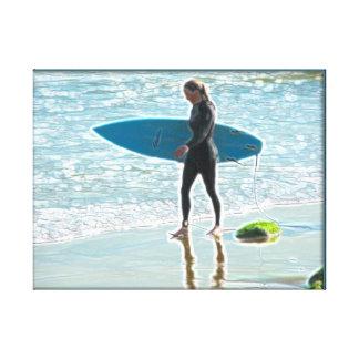 Kleines Surfer-Mädchen Leinwanddruck