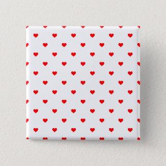 Kleines Weihnachtsrote Tupfen-Herzen auf Quadratischer Button 5,1 Cm