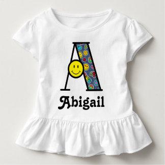 Kleinkind-Mädchen-Monogramm-Spitze Emoji Kleinkind T-shirt