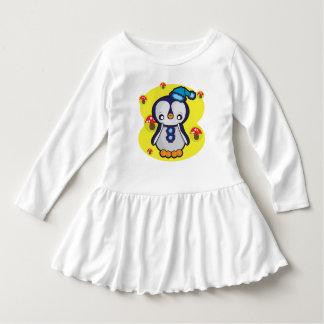 Kleinkind-Rüsche-Kleid, weiß mit Pinguin Kleid