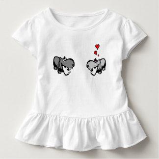Kleinkind-Rüsche-T-Stück - Flusspferd in der Liebe T-Shirts