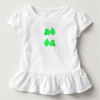 Kleinkind-Rüsche-weiße T-Stück Grün-Fische Kleinkind T-shirt