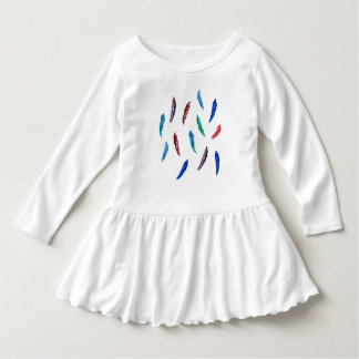 Kleinkindrüschekleid mit Aquarellfedern Kleid