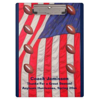 Klemmbrett, amerikanische Flagge, Fußball-Zug Klemmbrett