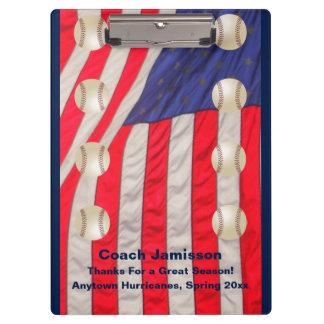 Klemmbrett, amerikanische Flaggen, Baseballtrainer Klemmbrett