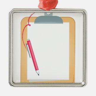 Klemmbrett u. Bleistift Quadratisches Silberfarbenes Ornament