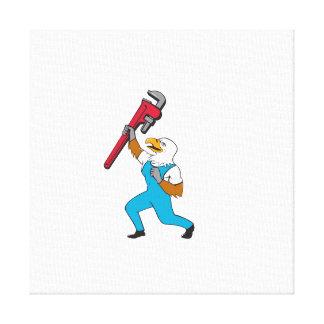 Klempner-Adler-stehender Rohr-Schlüssel-Cartoon Leinwanddruck