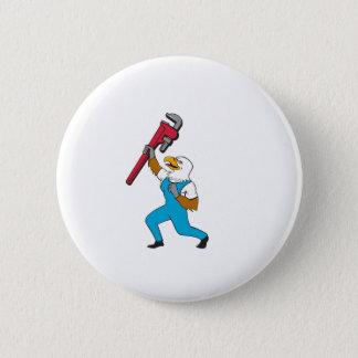 Klempner-Adler-stehender Rohr-Schlüssel-Cartoon Runder Button 5,7 Cm