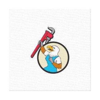 Klempner Eagle, das oben Rohr-Schlüssel-Kreis Leinwanddruck