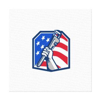 Klempner-Handrohr-Schlüssel USA-Flagge Retro Leinwanddruck