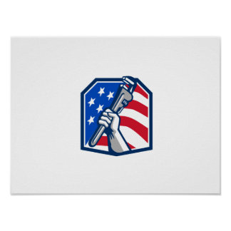 Klempner-Handrohr-Schlüssel USA-Flagge Retro Poster
