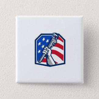 Klempner-Handrohr-Schlüssel USA-Flagge Retro Quadratischer Button 5,1 Cm