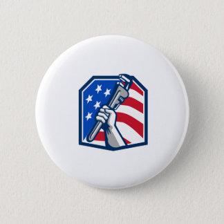 Klempner-Handrohr-Schlüssel USA-Flagge Retro Runder Button 5,7 Cm