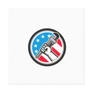 Klempner-Handrohr-Schlüssel USA-Flaggen-Seite Leinwanddruck