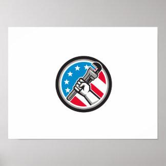 Klempner-Handrohr-Schlüssel USA-Flaggen-Seite Poster