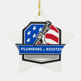 Klempner-Handrohr-Schlüssel USA-Flaggen-Wappen Keramik Ornament