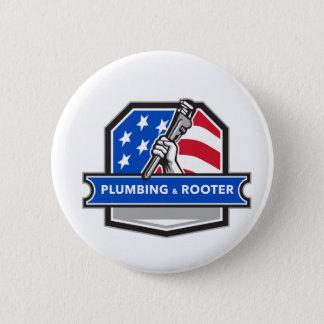 Klempner-Handrohr-Schlüssel USA-Flaggen-Wappen Runder Button 5,1 Cm