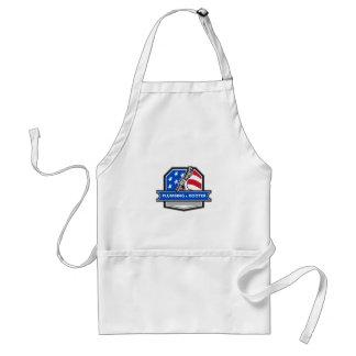 Klempner-Handrohr-Schlüssel USA-Flaggen-Wappen Schürze