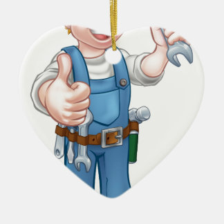 Klempner oder Mechaniker mit Schlüssel Keramik Ornament