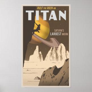 Klettern auf Titanen, ein Mond von Saturn Poster