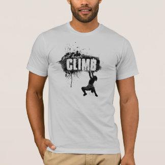 Klettern-Entwurf mit männlichem Bergsteiger T-Shirt