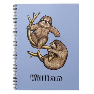 Kletterndes Sloth-personalisiertes Notizbuch Notizblock