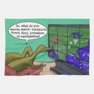 Klima-Änderungs-Dinosaurier-Parodie-Cartoon Handtuch