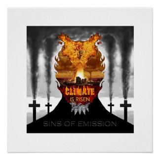 Klimawandel-Ablehnungs-Dämon-realistische Malerei Perfektes Poster