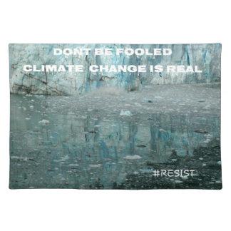 Klimawandel ist wirklicher schmelzender Gletscher Stofftischset