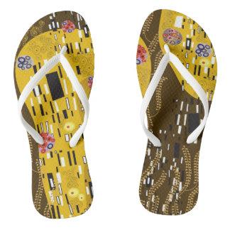 Klimt inspirierte Kunst Nouveau, das der Kuss Flip Flops