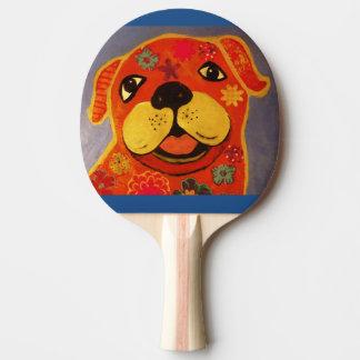 Klingeln Pong Paddel mit glücklichem Hund Tischtennis Schläger