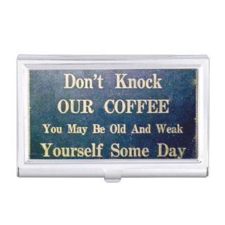 Klopfen Sie nicht unser Kaffee-Vintages Zeichen Visitenkarten-Dose