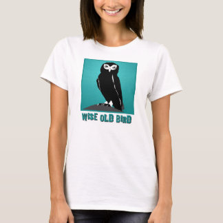 Kluger alter Vogel-T - Shirt - Eule in aquamarinem