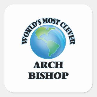 Klügster der Bogen-Bischof der Welt Quadratischer Aufkleber